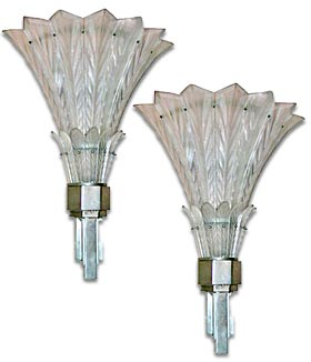 Art Deco Sabino Glass Wall Sconces
