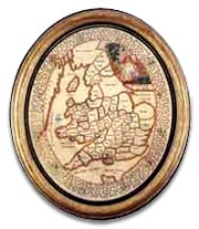 english antique embroidery map.