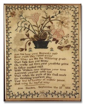 Antique Costumes & Textiles - An Antique Sampler c1826