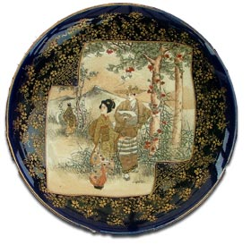 Antique signed Japanese Satsuma pottery cabinet plate