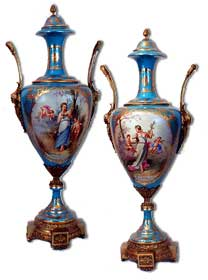 Pair of Sevres Porcelain Twin Handled Urns