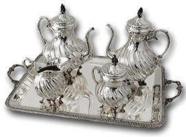 antique silver teaset and tray