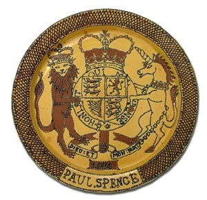 trailed slip ware armorial plaque by paul spence