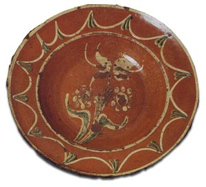 The Randolph Plate c1775 slipware decorated believed to have originated in Randolph County USA