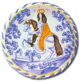 antique marks - tin glaze ceramic charger depicting william III