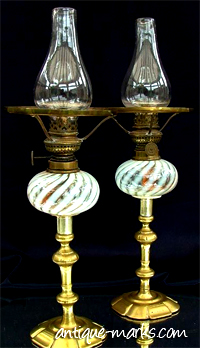 Antique Vaseline Glass Oil Lamps