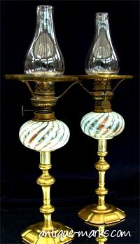 Antique Vaseline Glass Oil Lamps