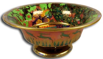 Fairyland Lustre Bowl with Stag Motif
