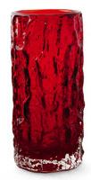 Whitefriars bark log vase in ruby