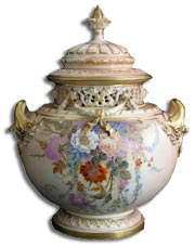 Antique Marks - Royal Worcester Sedgely pot pourri vase and cover