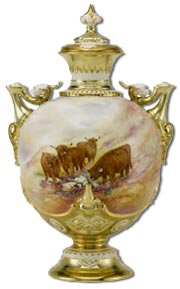 Royal Worcester Covered Vase depicting Highland Cattle