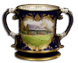 Handpainted worcester loving cup by harry davis