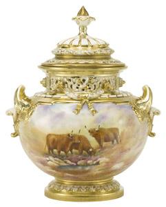 Worcester Gallery - John Stinton Highland Cattle Painted Porcelain Pot Pourri Vase
