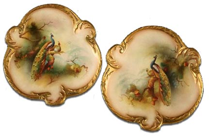 antique marks - a pair of worcester handpainted peacock wall plaques by lewis