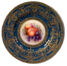 Worcester Richard Sebright fruit painted cabinet plate