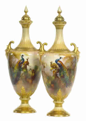 Worcester Gallery - Walter Sedgley Porcelain Pedestal Vases and Covers