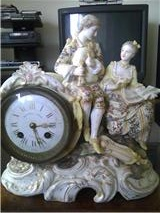 Front of Antique Figural Porcelain Clock