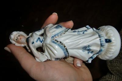 Female Blue & White Porcelain Figurine