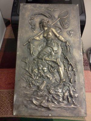 Fishing Goddess decoration on antique Bronze Wall Plaque
