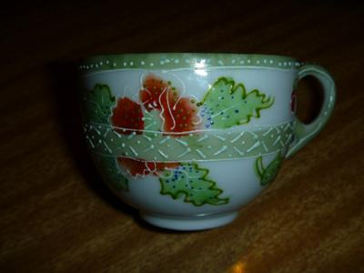 Right-hand side of translucent porcelain teacup