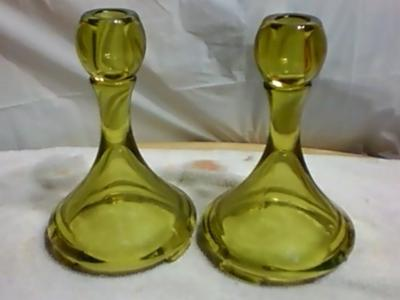 Vaseline Glass Candlesticks