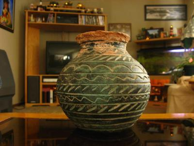 Close up of decoration on American Indian Clay Pot