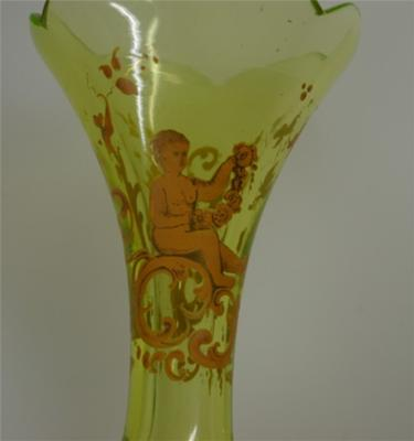 Decoration on Green Glass Vase