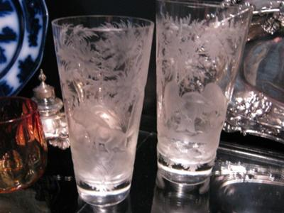 Georgian Glass Tumblers with etched decoration