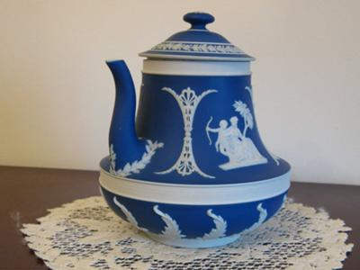 Wedgwood Jasperware Pot showing spout side