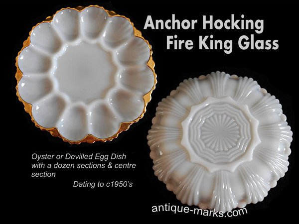 Anchor Hocking glass Oyster Plate c1950