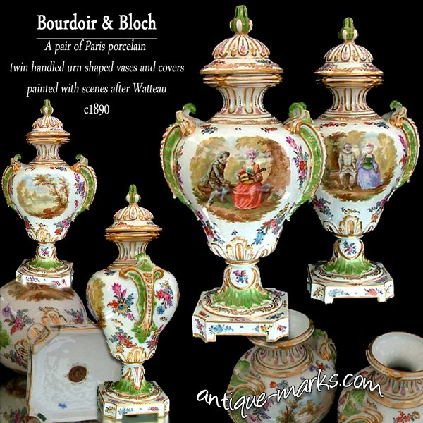 Paris Porcelain Vases by Bourdoir & Bloch