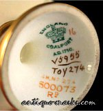 Coalport Marks - Crown Mark with Registration Number c1901