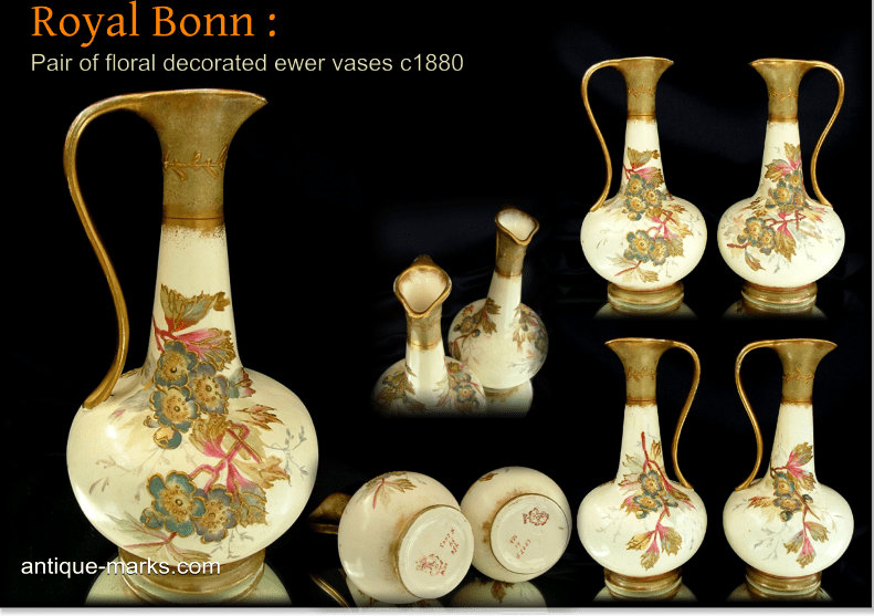 A beautiful matched pair of Antique Royal Bonn Vases in the form of Ewers.