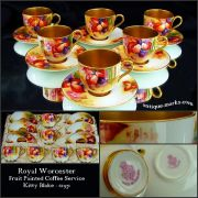 Cased Royal Worcester porcelain coffee set decorated by Kitty Blake