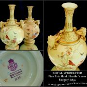 Pair of Royal Worcester Porcelain Vases with Mask Handles