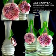 Antique Glass - Pair of Art Nouveau Orchid Vases