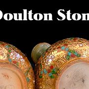 Collectible Royal Doulton Lambeth Stoneware - Pair Jewelled Vases