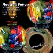 Stunning Moorcroft Pottery Leaf & Berry design lamp base c1928