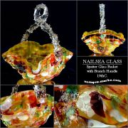 Gorgeous Antique Nailsea Spatter Glass Basket