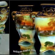 Decorative pair of antique Noritake china cabinet vases