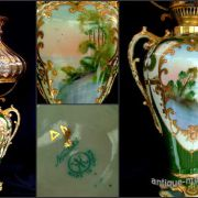 Antique Noritake china oil lamp decorated with lakeside scene