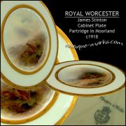 Royal Worcester Porcelain cabinet plate decorated by James Stinton