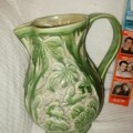 Embossed Green Pottery Jug with Rabbits - Possibly Beswick?