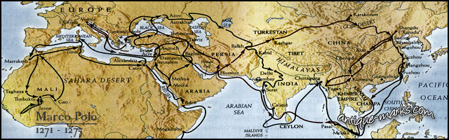 Marco Polo Journey Map - Antique Ceramic History