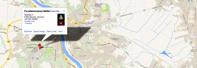 Modern Meissen Porcelain factory location map